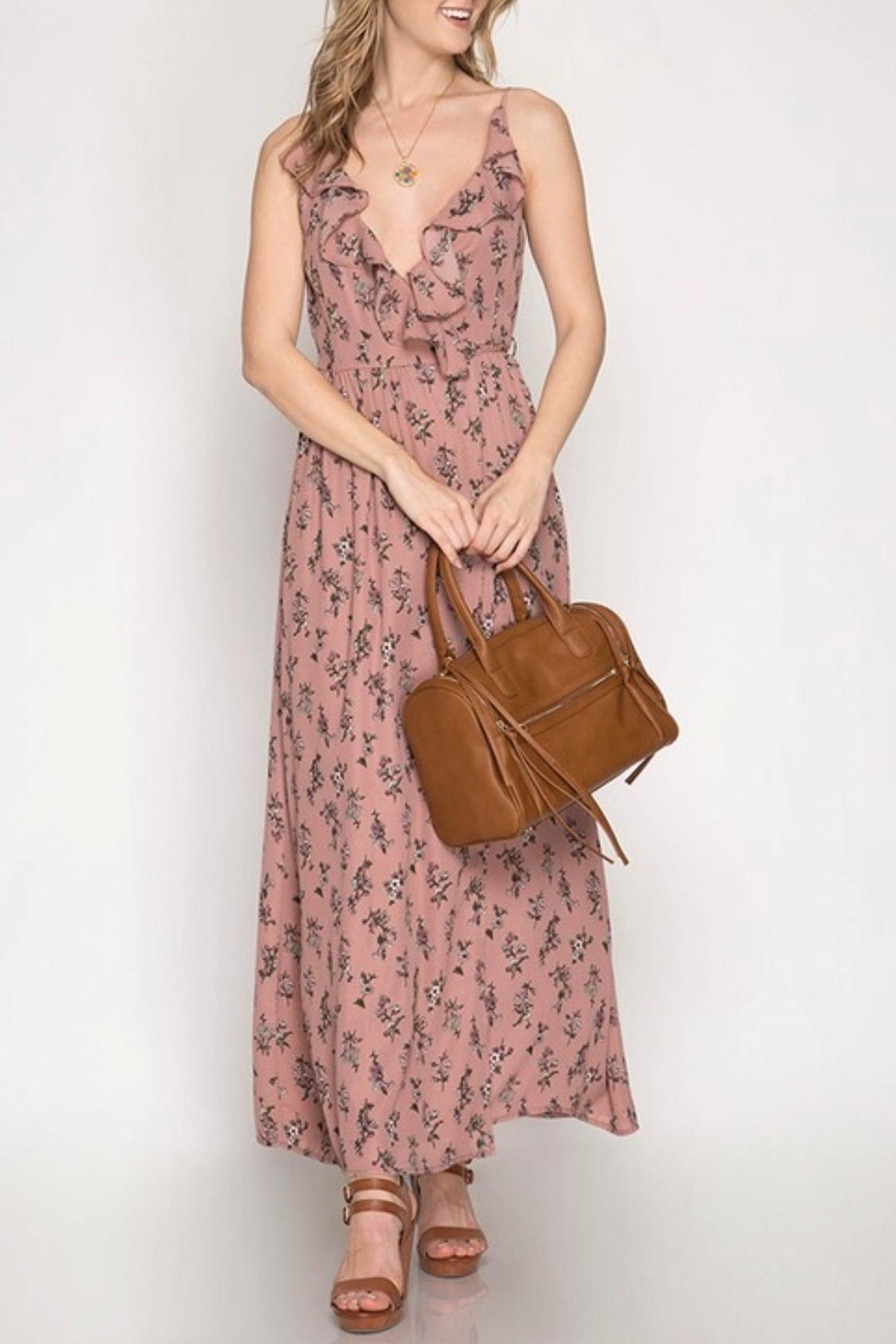 She + Sky Floral Maxi Dress - Front Cropped Image
