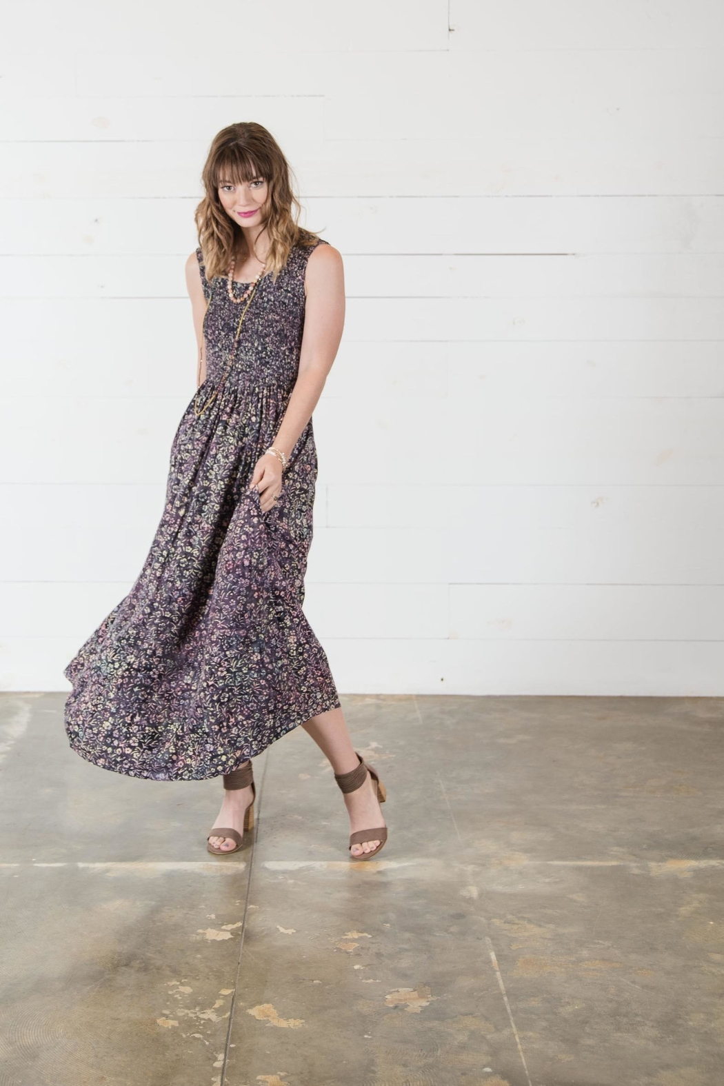 Go Fish Clothing Floral Maxi Dress - Back Cropped Image
