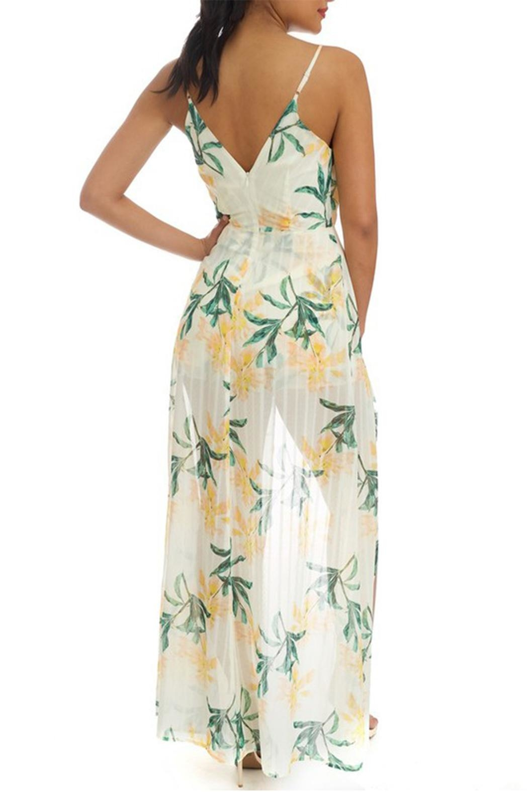 luxxel Floral Maxi Romper - Front Full Image
