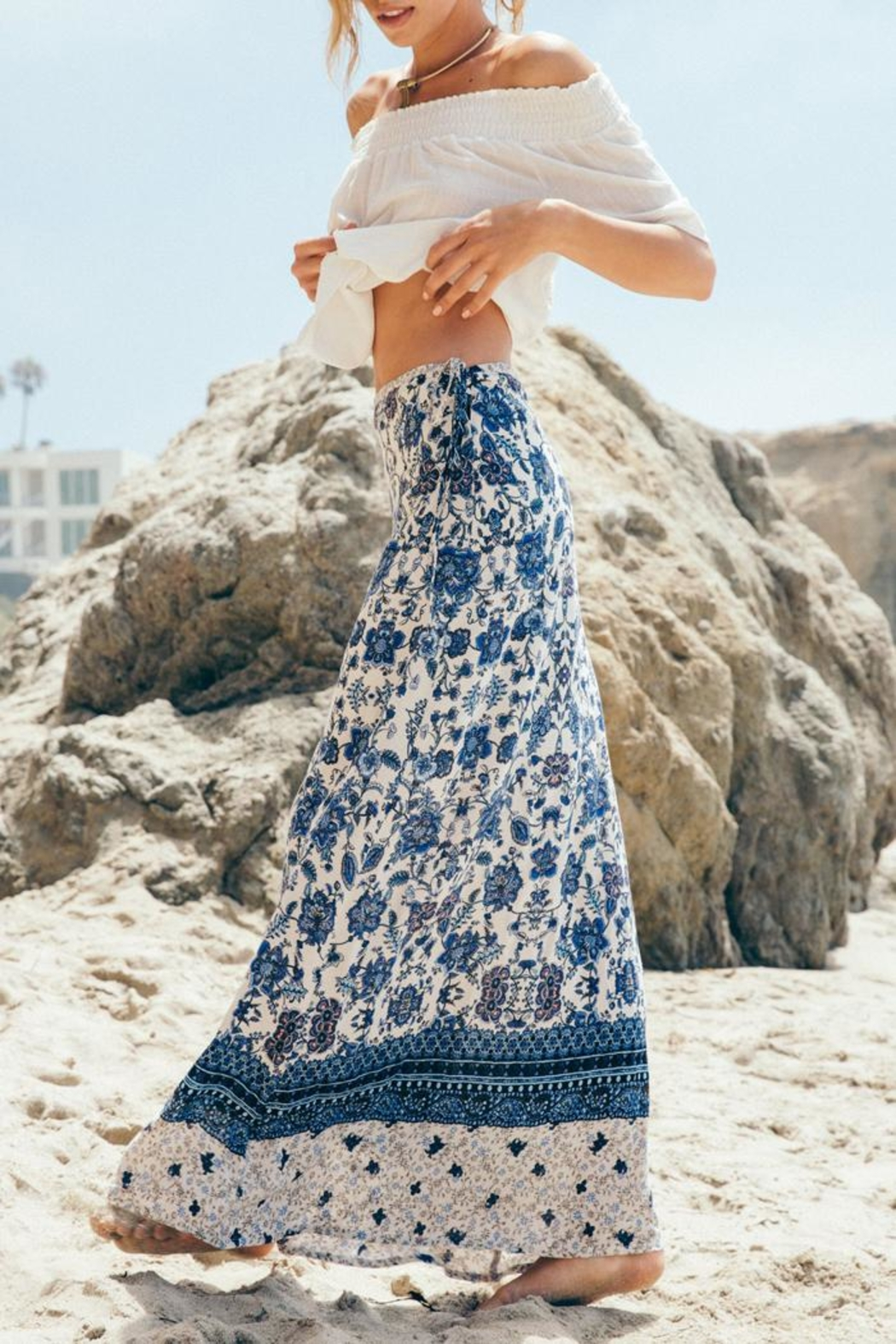 Sage Floral Maxi Skirt - Front Cropped Image