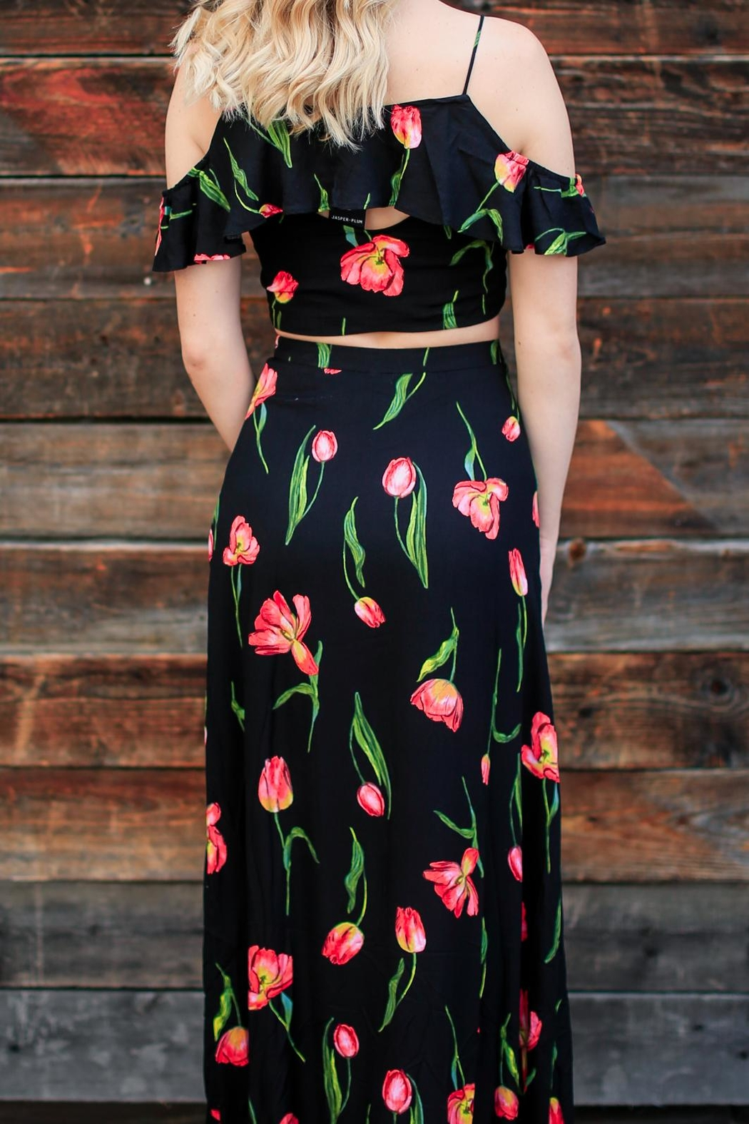 Lush Floral Maxi Skirt - Front Full Image