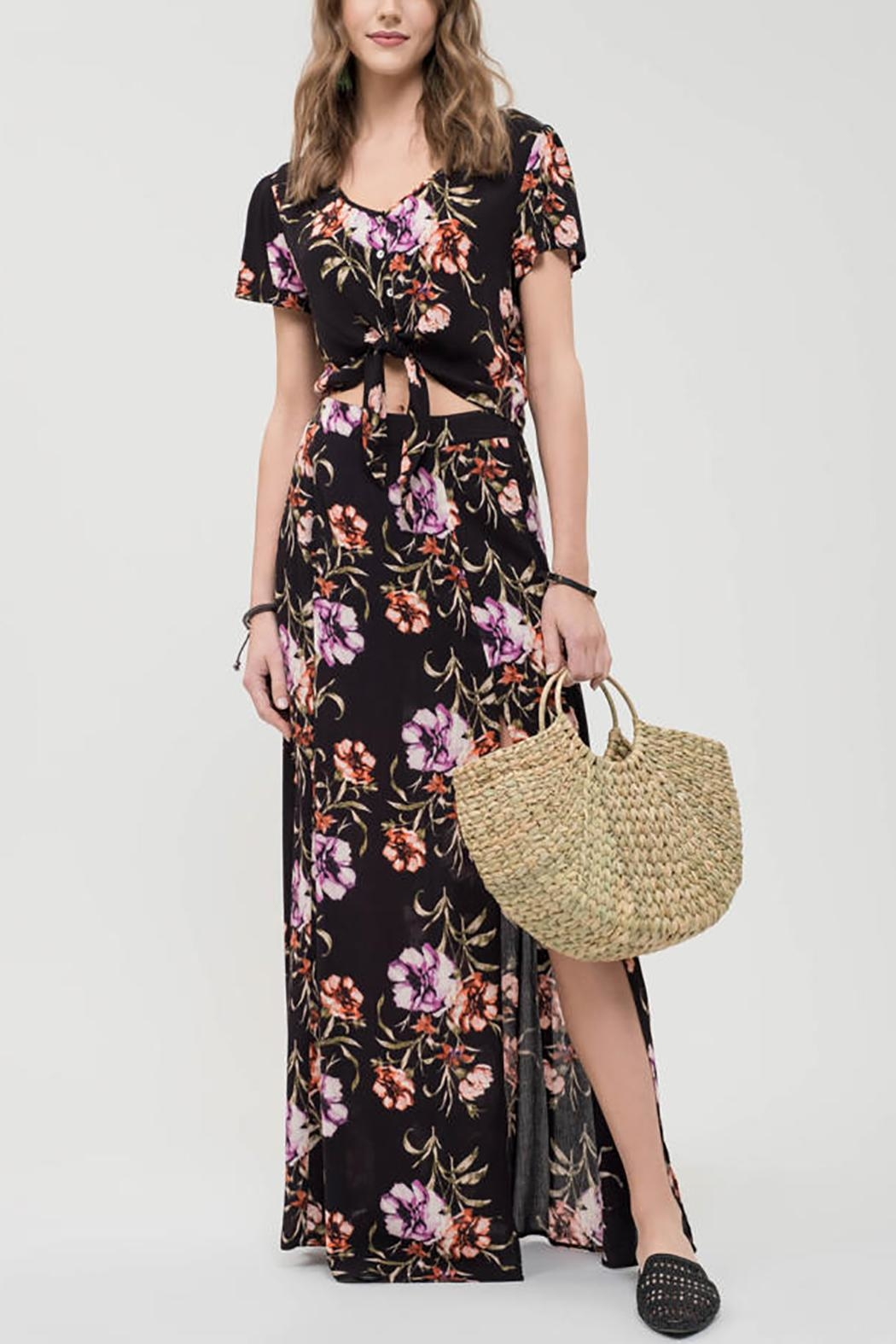 Blu Pepper Floral Maxi Skirt - Back Cropped Image