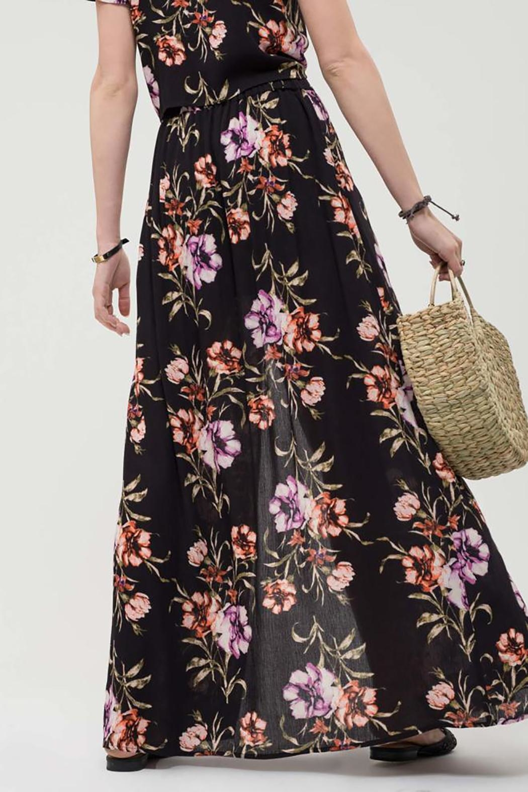 Blu Pepper Floral Maxi Skirt - Front Full Image