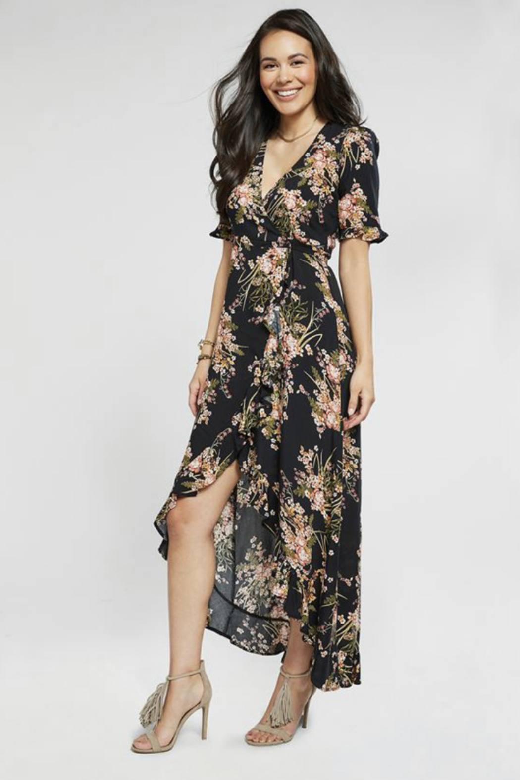 Coco and Carmen FLORAL MAXI WRAP DRESS - Main Image