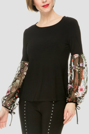 Joseph Ribkoff Floral Mesh Balloon Sleeve Top - Product Mini Image