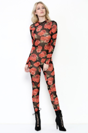 Tiny House of Fashion Floral Mesh Jumpsuit - Product Mini Image