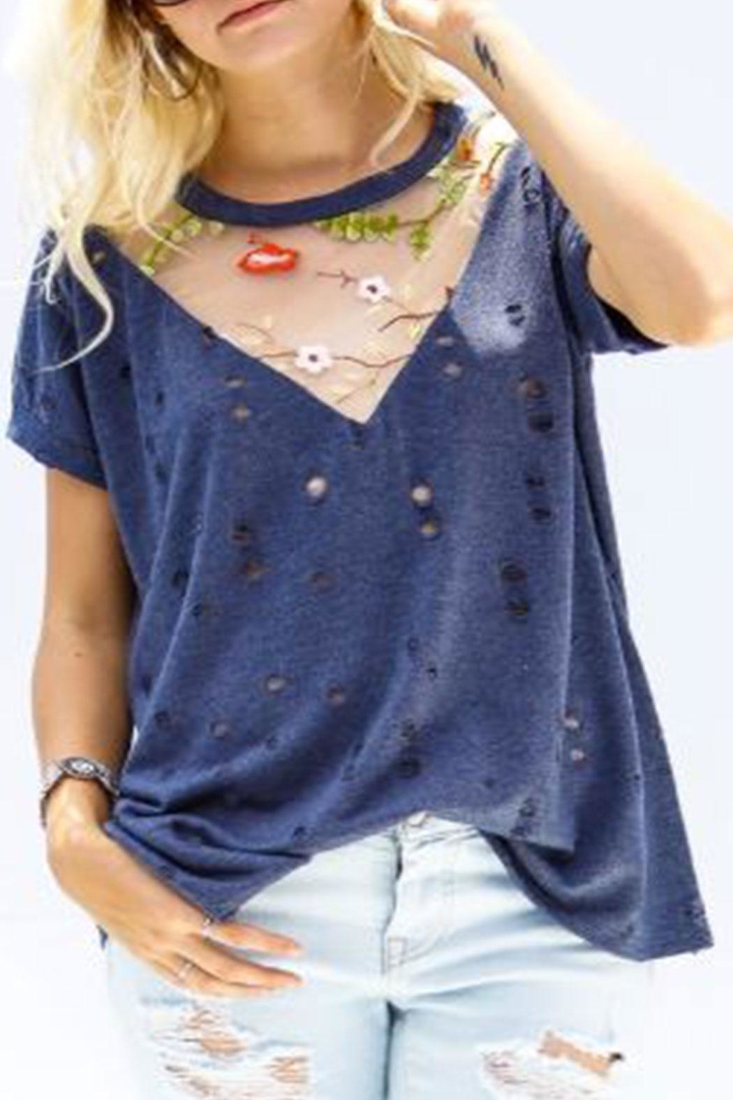My Story Floral Mesh Vneck - Front Cropped Image
