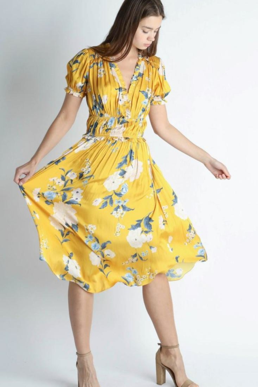 Current Air Floral Midi Dress - Front Cropped Image