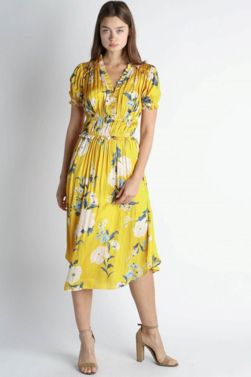 Current Air Floral Midi Dress - Side Cropped Image