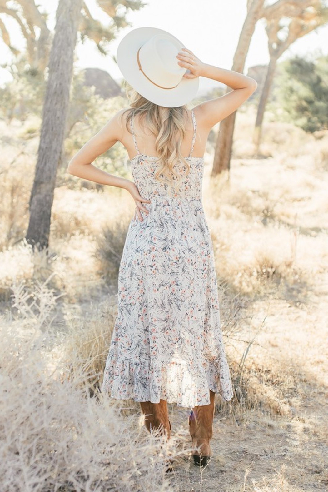 Love Stitch Floral Midi Dress - Back Cropped Image