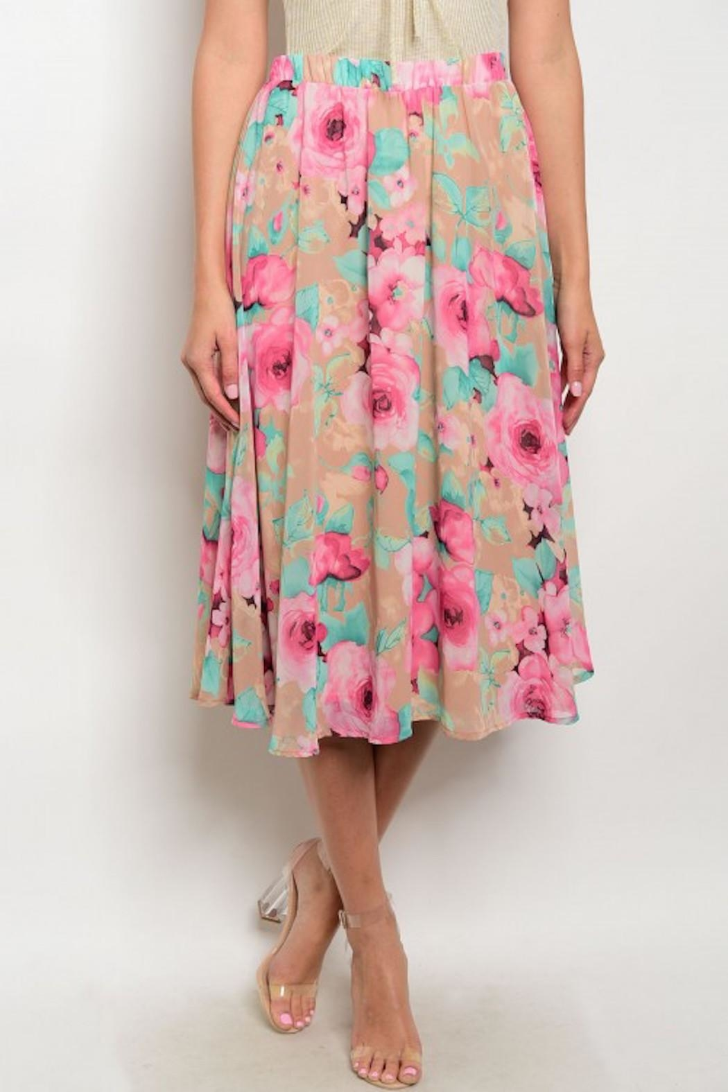 Peach Love California Floral Midi Skirt - Front Cropped Image