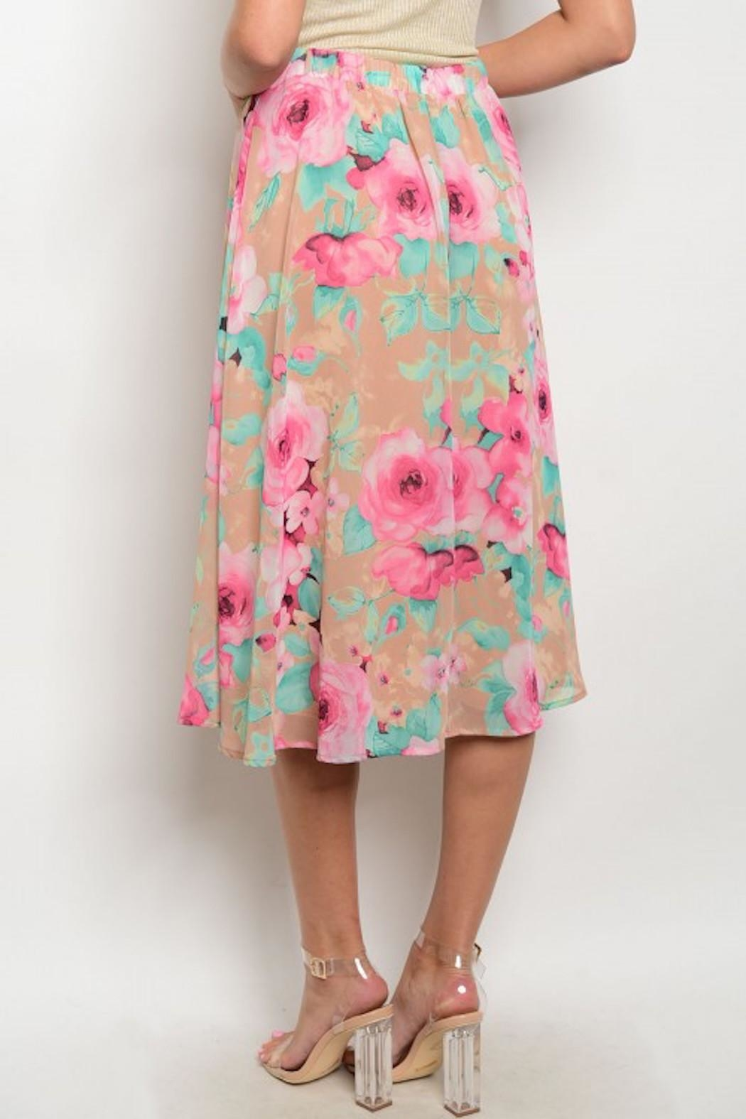 Peach Love California Floral Midi Skirt - Front Full Image