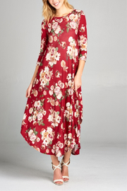 E Luna Floral Midi Swing Dress - Product Mini Image