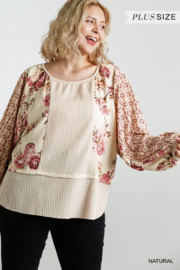 Umgee  Floral Mixed Waffle Knit Top - Product Mini Image