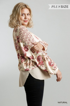 Umgee USA Floral Mixed Waffle Knit Top - Alternate List Image