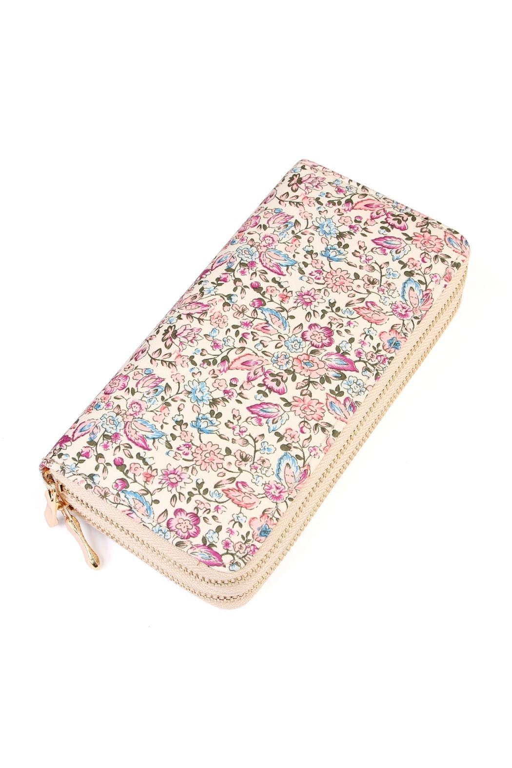 Riah Fashion Floral Multi-Tone Wallet - Front Cropped Image