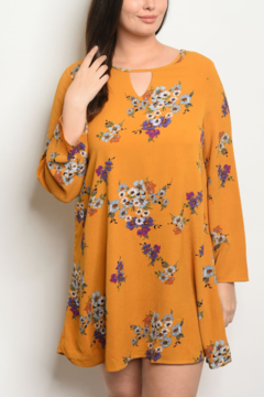 WFS Floral Mustard Tunic Dress -Plus- - Product List Image