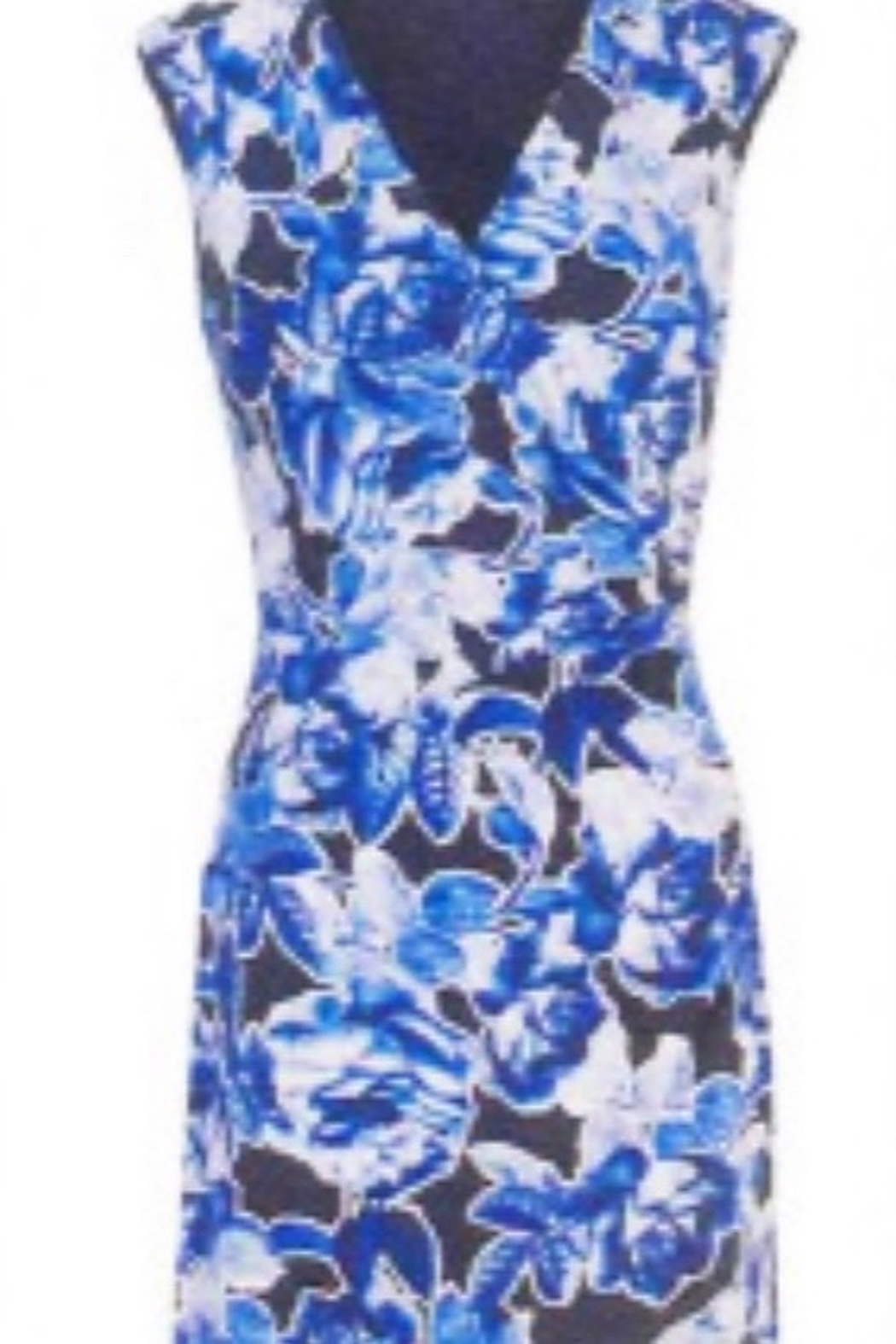 Joseph Ribkoff Floral navy sleeveless dress - Front Cropped Image