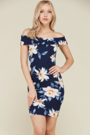 Hearts & Hips Floral Off Shoulder Bodycon Mini Dress - Product Mini Image