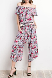 easel Floral Off-Shoulder Jumpsuit - Product Mini Image