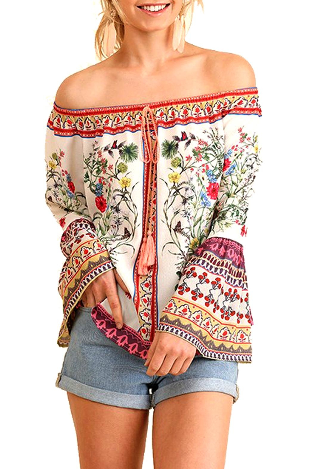 Umgee USA Floral Off-The-Shoulder Top - Main Image
