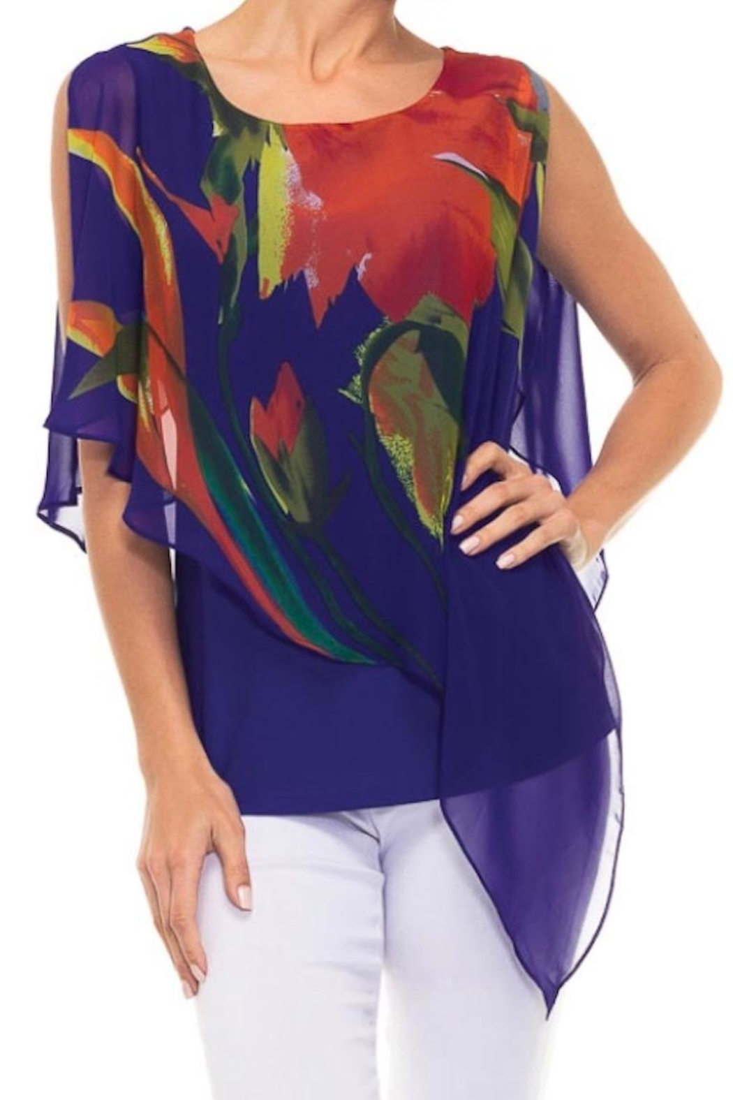 Alison Sheri Floral Overlay Top - Main Image