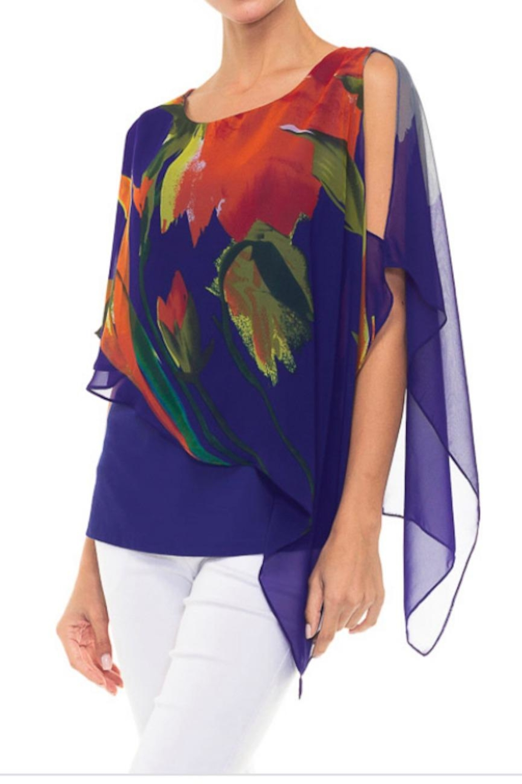 Alison Sheri Floral Overlay Top - Front Full Image