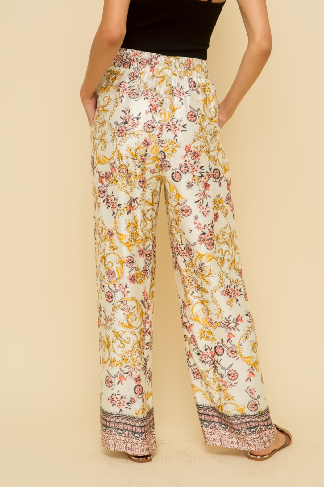 Hem and Thread Floral Palazzo Pant - Side Cropped Image
