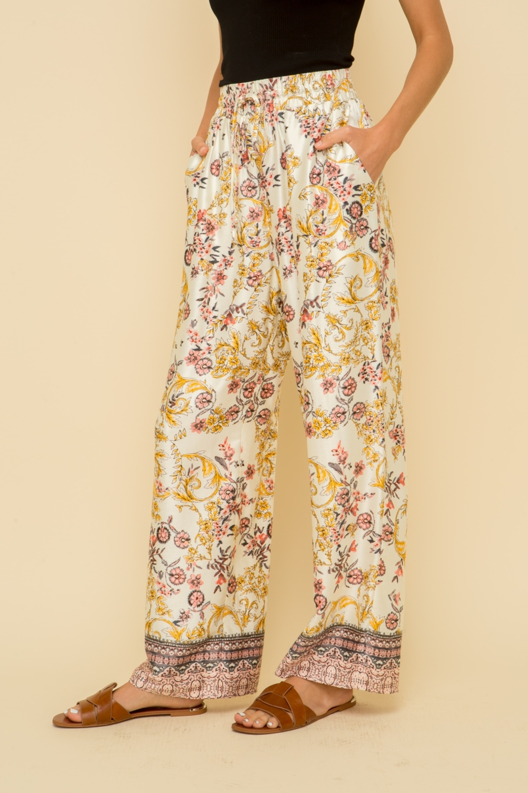Hem and Thread Floral Palazzo Pant - Front Full Image