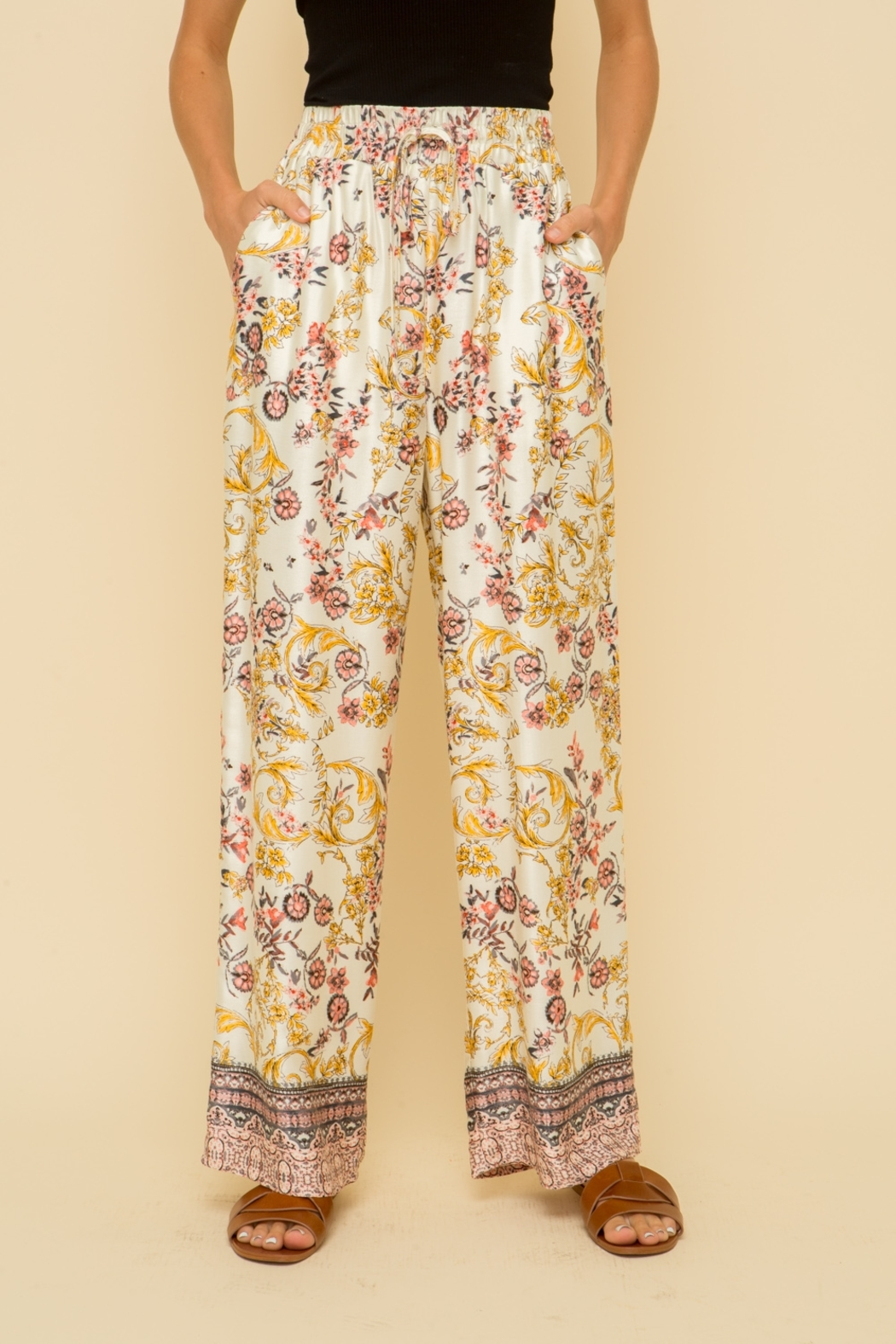 Hem and Thread Floral Palazzo Pant - Main Image