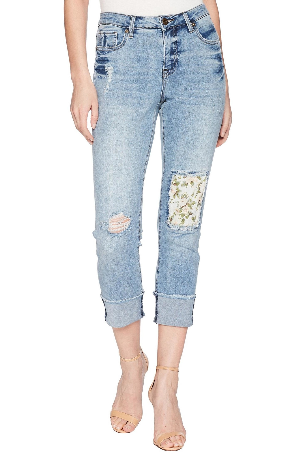Tribal Floral Patch Jeans - Main Image