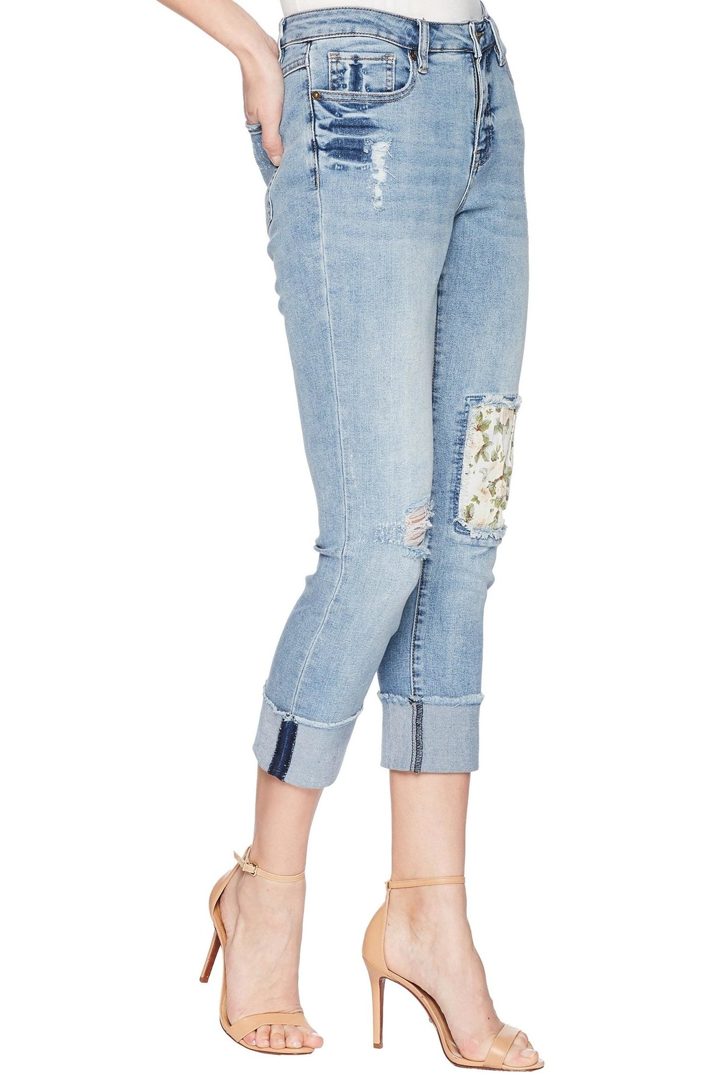Tribal Floral Patch Jeans - Side Cropped Image