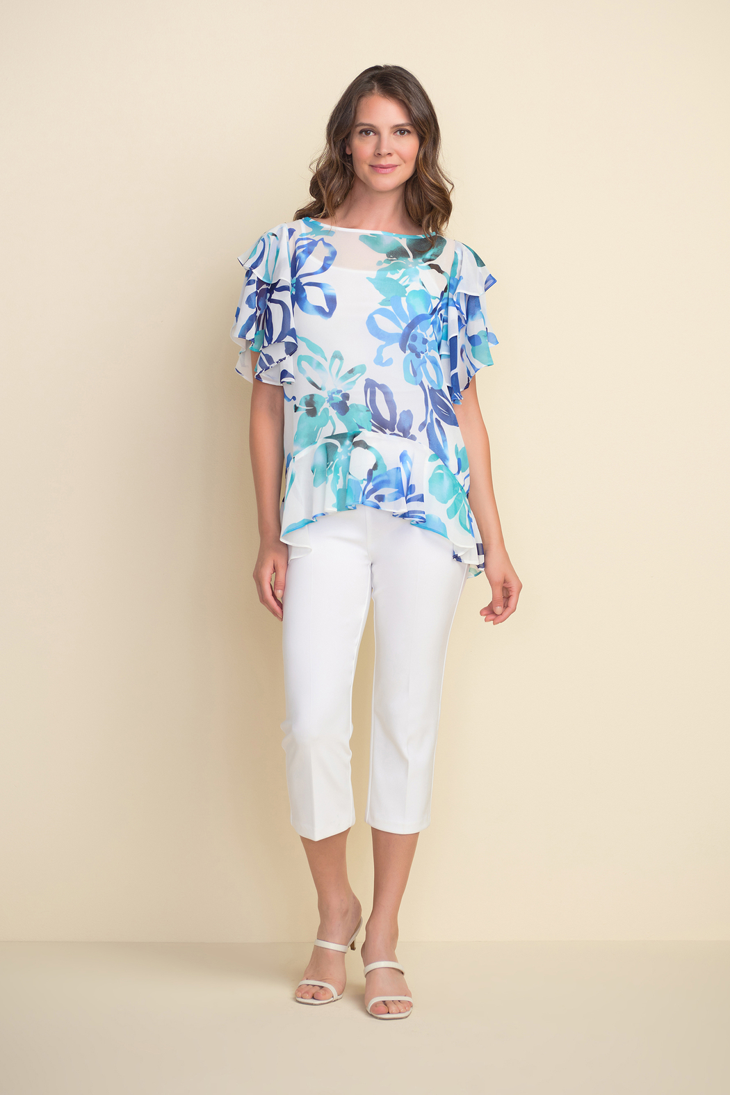 Joseph Ribkoff  Floral pattern tunic top, ruffled sleeves and ruffled hem. - Back Cropped Image