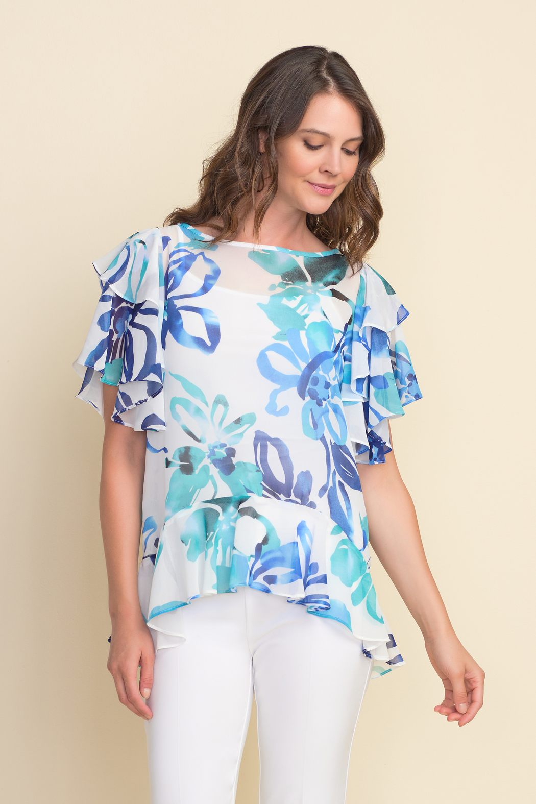 Joseph Ribkoff  Floral pattern tunic top, ruffled sleeves and ruffled hem. - Front Cropped Image