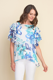 Joseph Ribkoff  Floral pattern tunic top, ruffled sleeves and ruffled hem. - Front cropped
