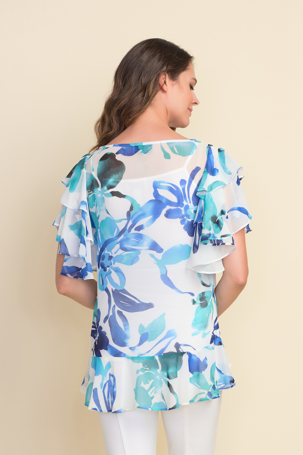 Joseph Ribkoff  Floral pattern tunic top, ruffled sleeves and ruffled hem. - Front Full Image
