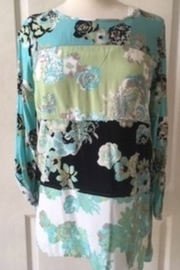 Multiples Floral patterned aqua, black and lime tunic top - Product Mini Image