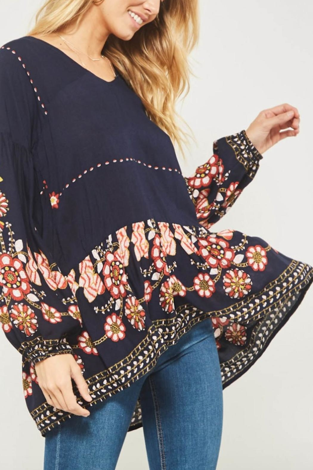 Promesa USA Floral Peasant Blouse - Side Cropped Image