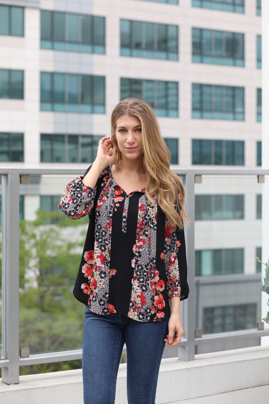 Olive Hill Floral Peasant Blouse - Main Image