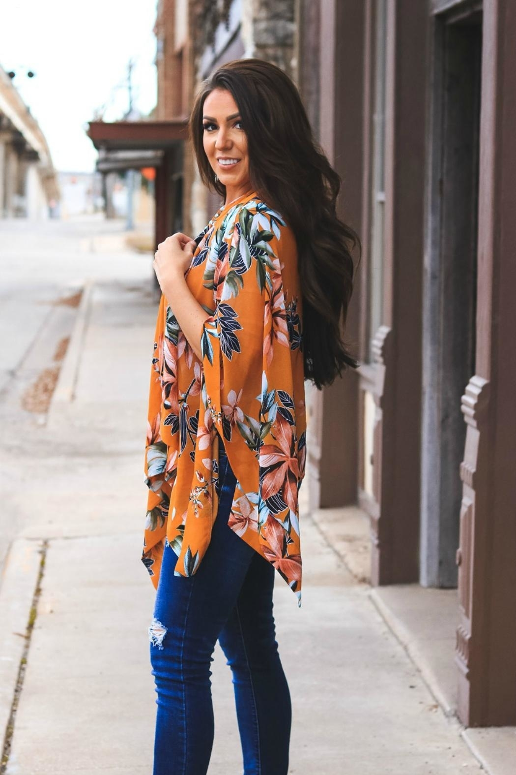 L & B Floral Poncho - Front Full Image