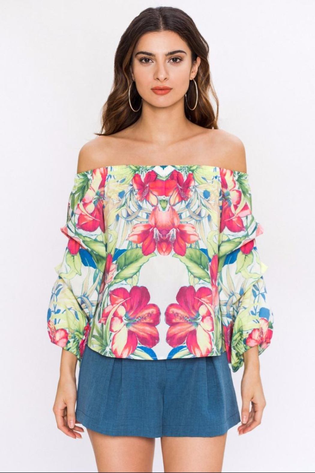 Floral Poplin Top by Chikas, Los Angeles