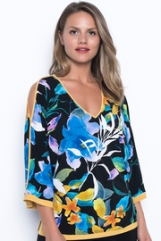 Frank Lyman Floral Print 3/4 Sleeve Cold Shoulder Top - Product Mini Image