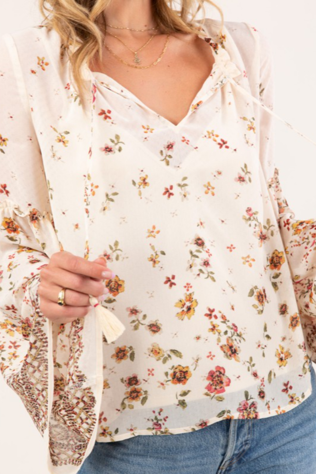 Lovestitch  Floral Print Bell Sleeve Peasant Top - Main Image