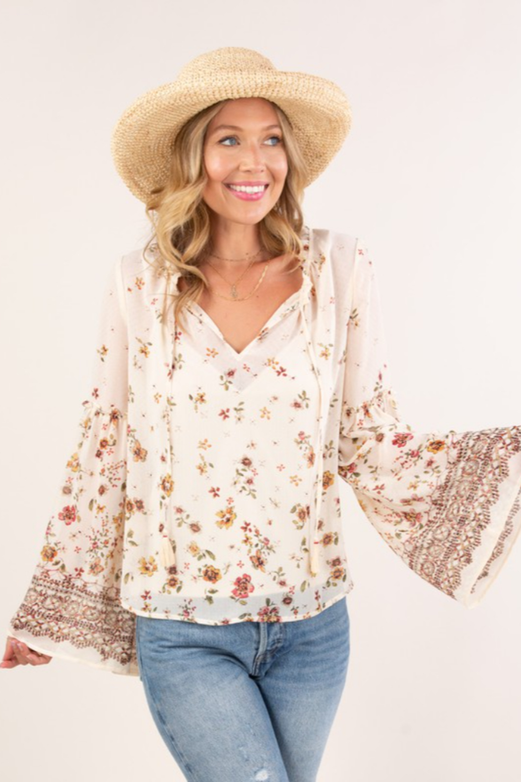 Lovestitch  Floral Print Bell Sleeve Peasant Top - Front Cropped Image