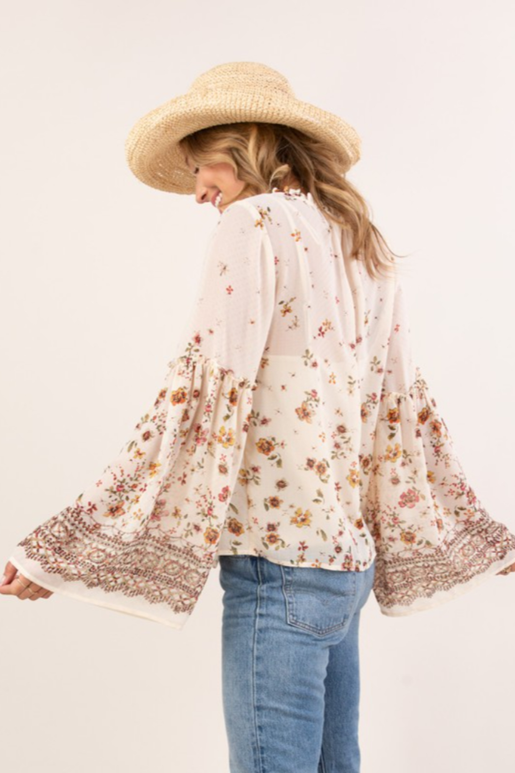 Lovestitch  Floral Print Bell Sleeve Peasant Top - Side Cropped Image