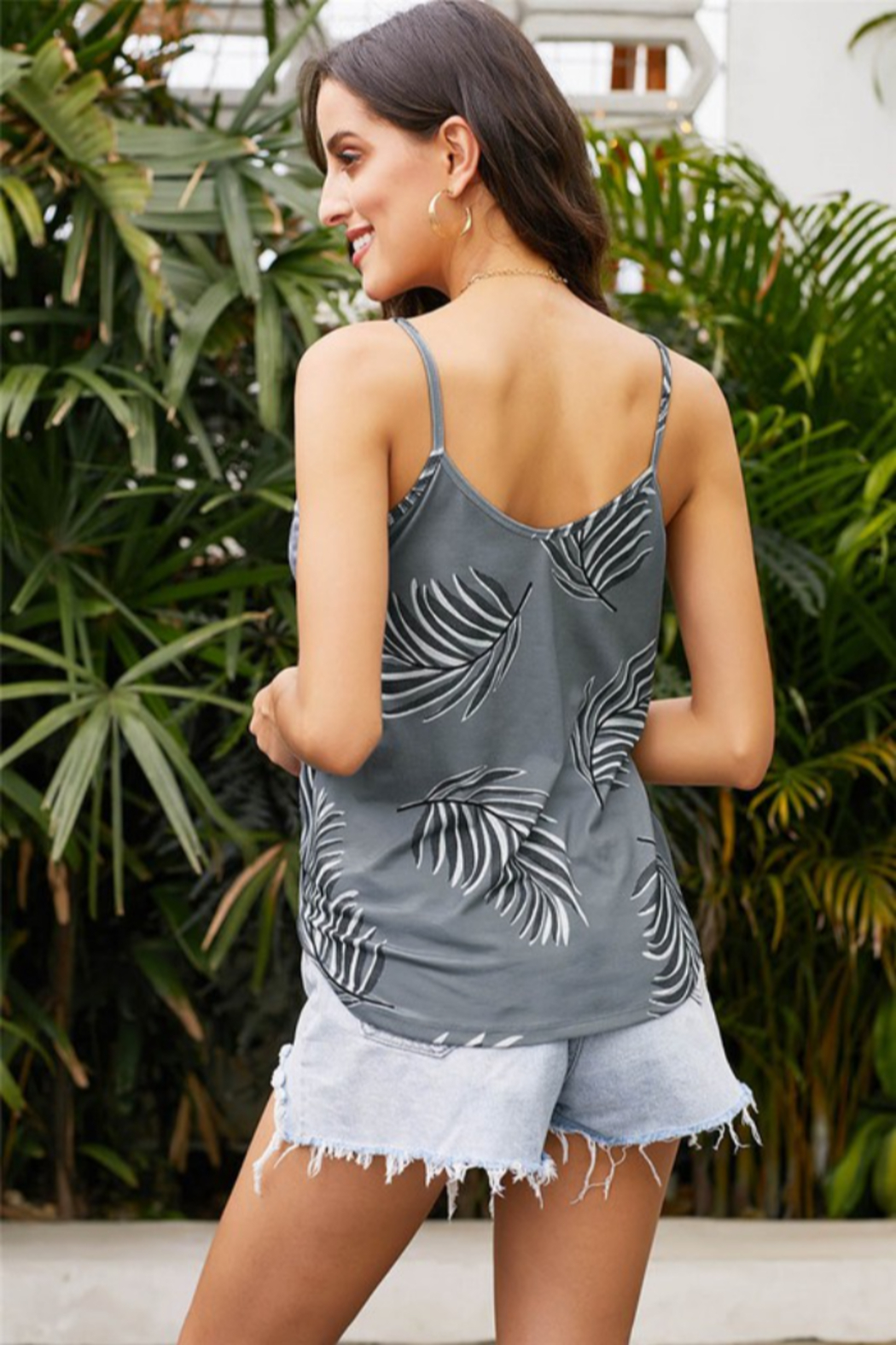 Shewin  Deep V Wrap Sleeveless Top - Front Full Image