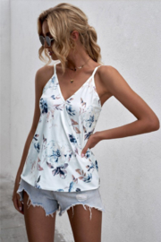 Shewin  Deep V Wrap Sleeveless Top - Front cropped