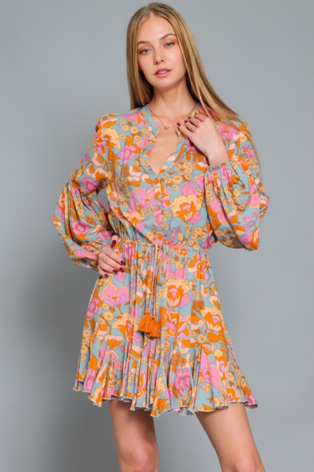 AAKAA Floral Print Dress - Front Full Image