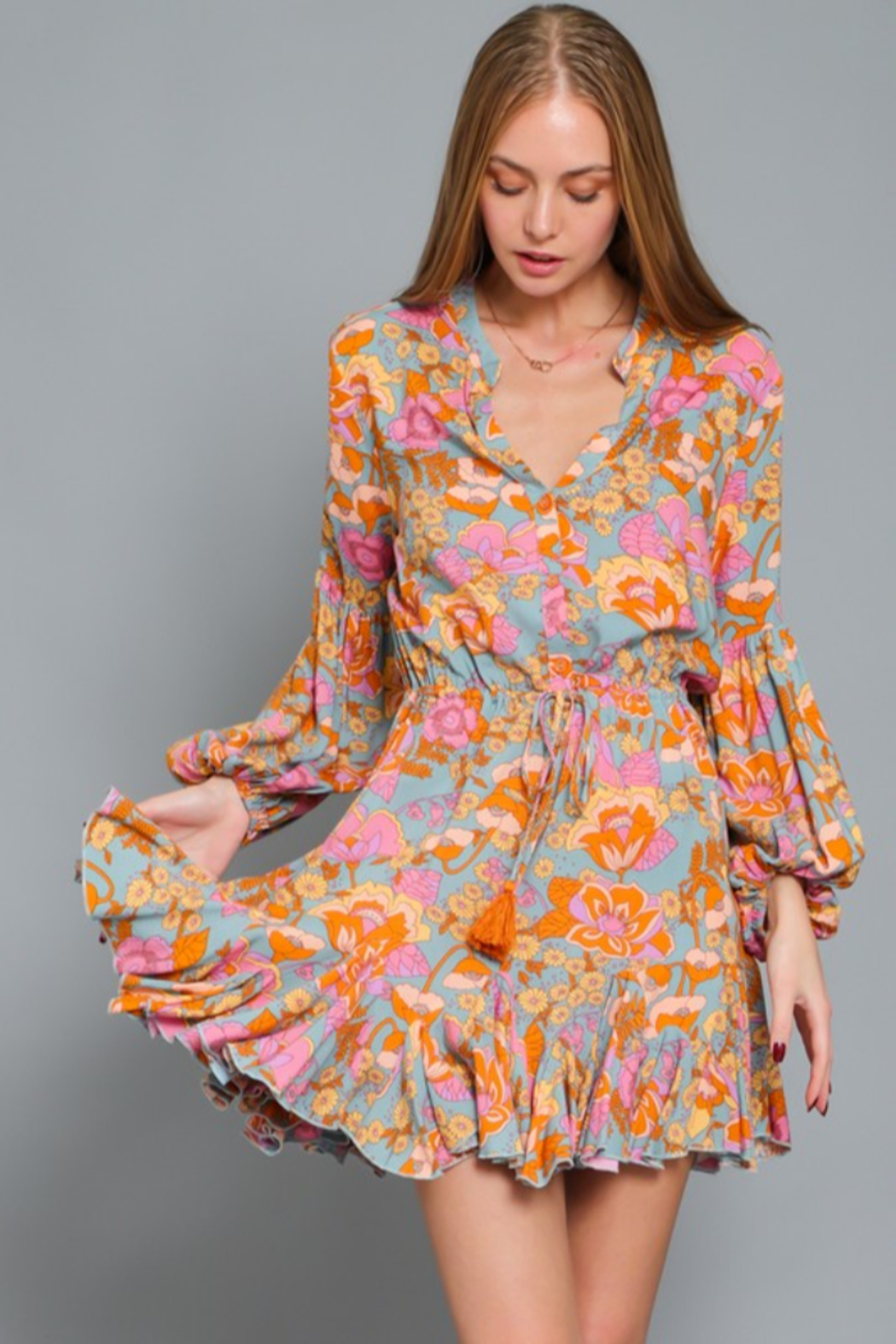 AAKAA Floral Print Dress - Front Cropped Image