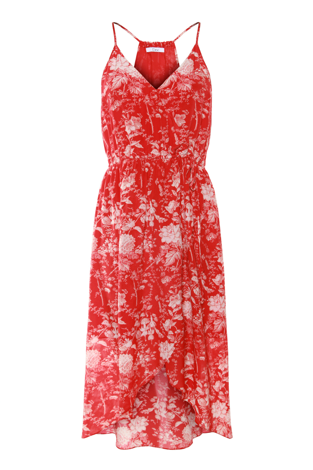 Dex Floral Print Halter Faux Wrap Dress - Front Cropped Image